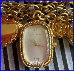 NWOT Betsey Johnson Gold Tone Chunky Locket & Charms Watch Battery Works