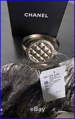 NWT CHANEL 2016 2015 Gold Coin Quilted Medallion CC Charm Classic Bracelet Cuff