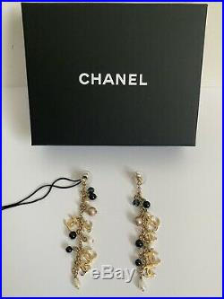 NWT Chanel Multi CC Logo Bead Pearl Charm Gold Tone Chain Drop Dangle Earrings