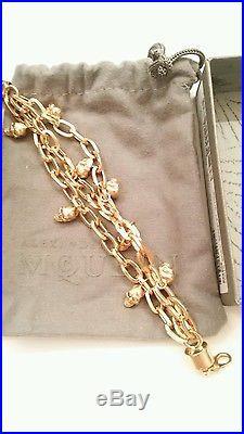 NWT Italian Alexander McQueen Gold tone Swarovski crystal Skull Charm bracelet