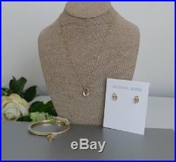 NWT Michael Kors Pavé Heart Lock Pendant+Earrings+Bracelet Set of 3 Gold Tone