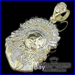 New 10k 100% 2 tone Real Gold Apache Indian King Charm Pendant 4 Grams 1.5 Mens