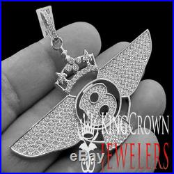 New 10k White Gold Tone Silver Flying B-Wing Bentley Crown Charm Pendant Men's