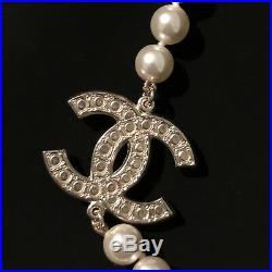New Auth CHANEL All Pearl Necklace CC Charm Gold Tone Gorgeous