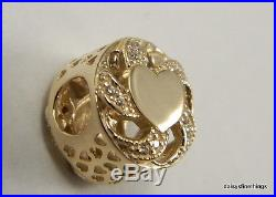 New! Authentic Pandora Charm 14k Ribbon Hearts #751004cz Hinged Box Incl