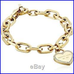 New Michael Kors Gold Tone, Crystal Trim Heart, Chain Link Charm Bracelet Mkj5392