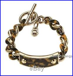 New Michael Kors Goldtone Tortoise Acetate & Curb Chain Bracelet MKJ3732710 $165
