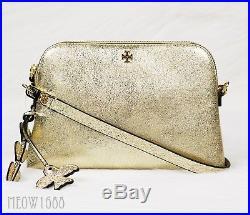 New Tory Burch Gold Metallic Peace Charm Crossbody Purse Clutch Bag 44570 $250