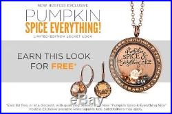 Origami Owl Pumpkin Spice Hostess Exclusive Locket, Chain & Charms LE & HTF 2017