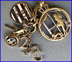Original Iconic HENRI BENDEL Gold Charm Bracelet withSwarovski Crystals