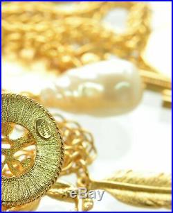 Oscar De La Renta Embellished Gold Tone Charm Necklace -Guaranteed Authentic