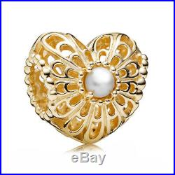 PANDORA Gold 14K Vintage Lace Heart Charm With White Pearl