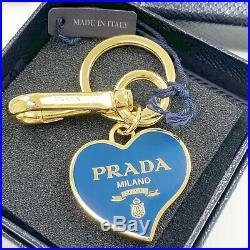 PRADA Bag Charm Key Chain Heart Blue Gold tone Trinkets NWT