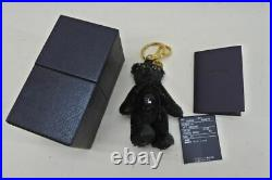 PRADA Black Teddy Bear Keychain Bag Charm Beads Gold-tone Key Ring Authentic