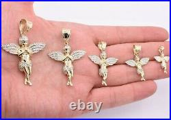 Praying Angel Wings CZ Charm Pendant Two-Tone Real SOLID 10K Yellow White Gold