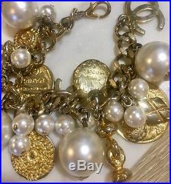 Rare Authentic Chanel Logo + Matelasse Gold Tone Charm Bracelet
