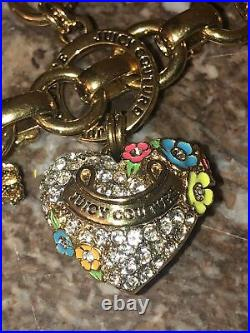 Rare Enameled Gold Tone Juicy Couture Lipgloss Heart Locket Necklace