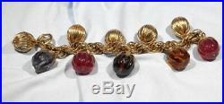 Rare Napier Doris Day Charm Bracelet 1954 Gold Tone Melon Glass and Gold Charms