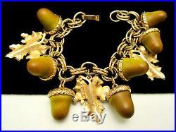 Rare Vintage 7x1-1/2 Signed Florenza Goldtone Acorn Leaf Charm Bracelet A60