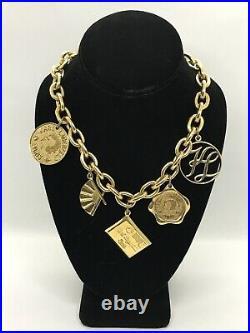 Rare! Vintage 80's Karl Lagerfeld Paris 5 Charms Gold Tone Chain Necklace