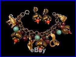 Rare Vintage ART Goldtone Buddha Snake Genie Charm 8x2 Bracelet & Earring Set