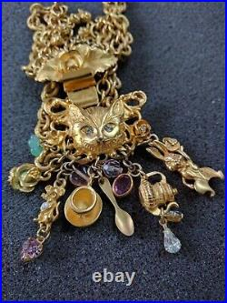 Rare Vintage Kirks Folly Alice In Wonderland Charm Bracelet Gold Toned