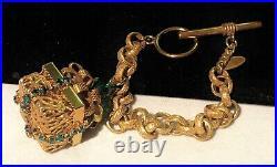 Rare Vintage Signed Miriam Haskell Gilt Green Rhinestone Charm 7 Bracelet A44