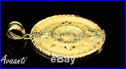 Real 10k Gold Aztec Mayan Mexico (Mexican) Sun Calendar Medallion Pendant Charm