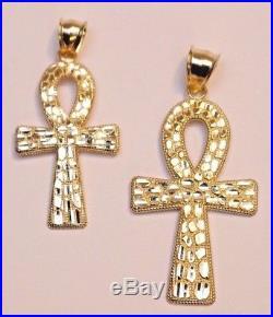 Real 10k Gold NUGGET ANKH JESUS CROSS Pendant Charm Piece in Diamond Cut Design