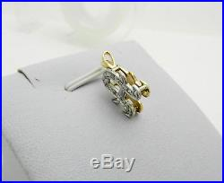 Real 14K Two Tone Gold Diamond Initial Letter A Slide Charm Pendant