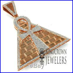 Real Diamonds Egyptian Ankh Cross Charm Rose Gold Tone Pyramid Pendant XL 2.65'
