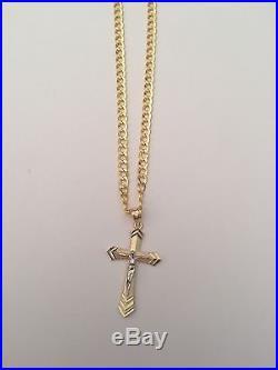 Religious Real 10k 2 Tone Gold Jesus Crucifix Cross Pendant Charm Cuban Chain 20