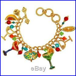 Ritzy Couture Cocktail Party Adjustable Toggle Multi Charm Bracelet (Goldtone)