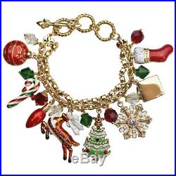 Ritzy Couture Two-Strand Colored Enamel Christmas Charm Toggle Bracelet-Goldtone