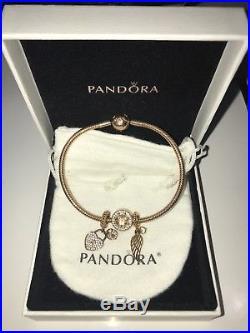 Rose Gold pandora bracelet with charms