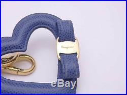 Salvatore Ferragamo Vara Heart Keyring Bag Charm Blue Leather/Goldtone e41765
