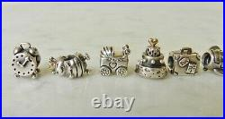 Set 10 PANDORA Retired Sterling Silver & 14K Gold Charms Beads Gold-Tone 38g