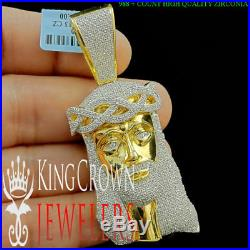 Solid Sterling Silver Yellow Gold Tone Men's 2.85 Jesus Head Face Charm Pendant