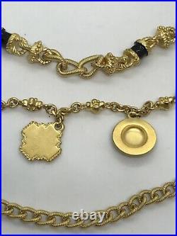 St John Gold Tone Metal Chain Three Tier w Black Enamel Charms Adjustable Belt