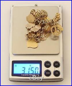 Stunning 14k Yellow Gold Charm Bracelet 7.5 Long, 31.5 gr
