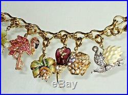 Stunning! Nolan Miller 14 Charms Bracelet Enamel Crystal Charm Gold Tone Signed