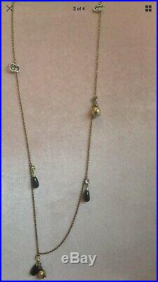 Superb Rare Gucci Gold-Tone Metal and Crystal Glass Charm Long Fashion Necklace