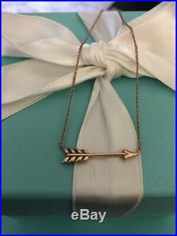 Tiffany & Co Rubedo Metal Arrow Necklace Pendant 18 Charm RARE Rose Gold Tone