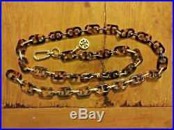 Tory Burch Women's Gold Tone/Tortoise Chain Belt, Signature Logo charm