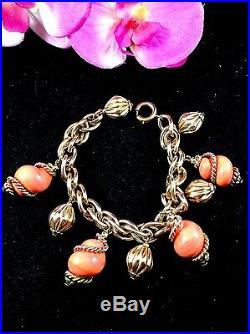 Ultra Rare 1920's Signed Napier Goldtone Coral Enamel Seashell Charm Bracelet