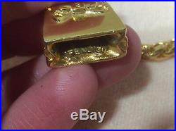 VTG FENDI LOGO SIGNED CHUNKY RUNWAY Handbag Charm Pendant NECKLACE Gold Tone