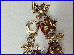 Versace Gold Tone Carved Red Floral Charms Necklace/ Bracelet Set