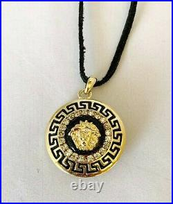 Versace Vintage Medusa Gold Tone Locket Pendant Necklace