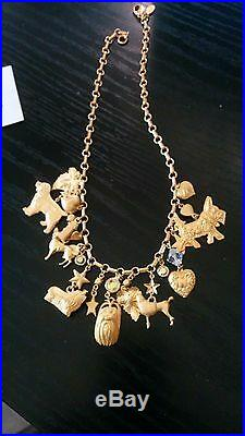 Very Rare Retired Kirks Folly Dog Charms Necklace Gold Toned Excellent