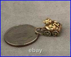 Vintage 14k Two Tone Gold 3D Movable Teddy Bear Riding In Cart Charm